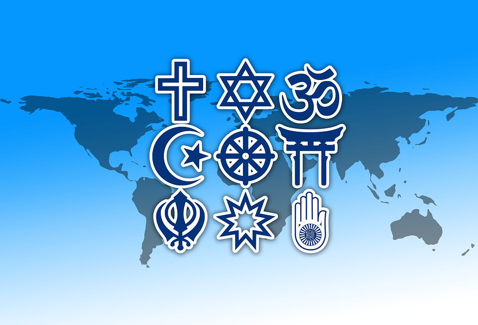 Various religious symbols from around the world.