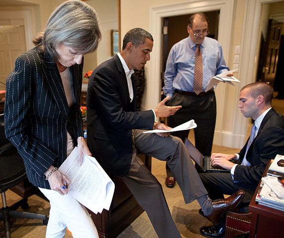 Former President Barack Obama practising a speech with some of his White House aides.