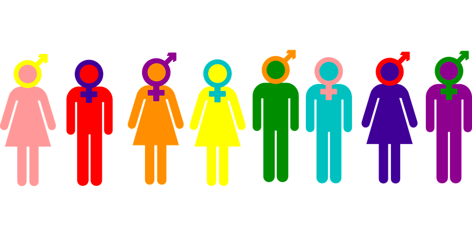 A rainbow gender identity spectrum.