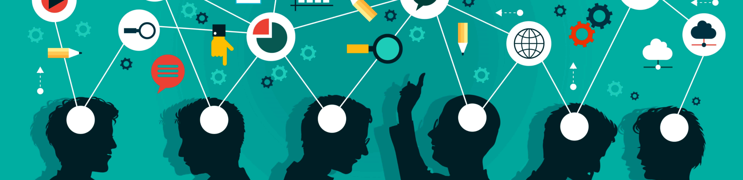 This is a banner image showing the silhouette of 6 people having ideas