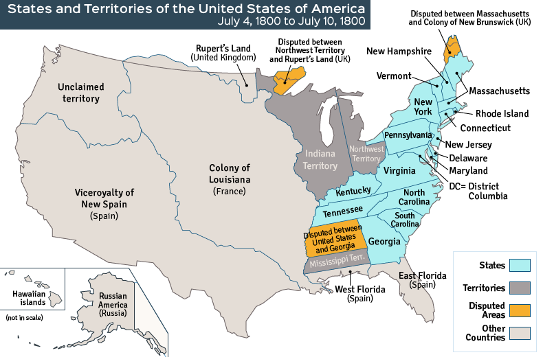 United States History I Ii Reading Assignment The Early - Us-map-early-1800s