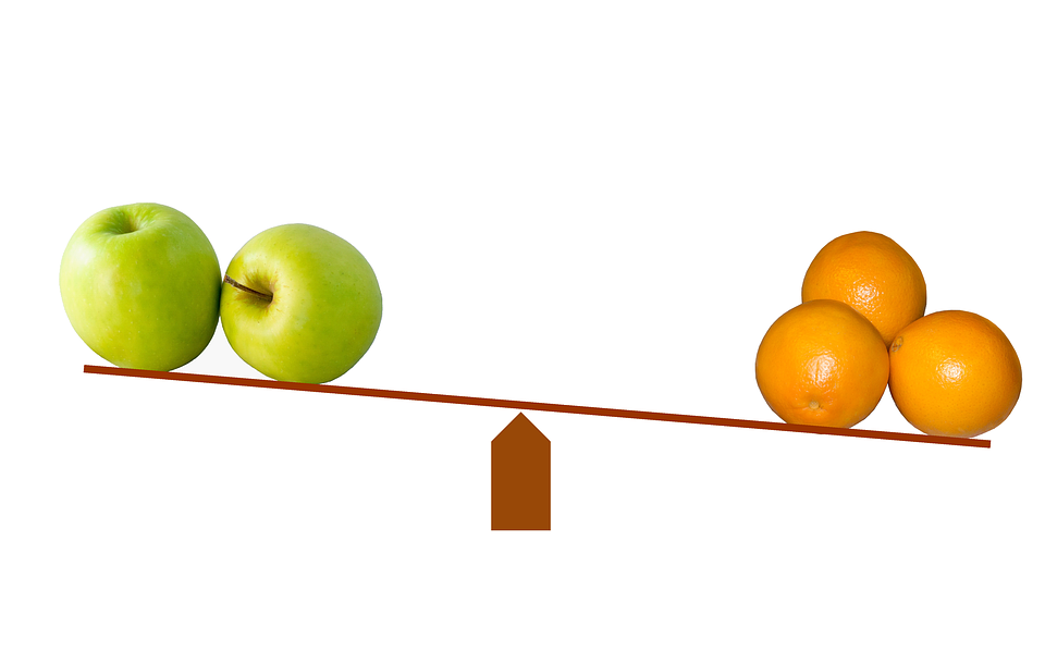 A seesaw with two apples on the left side, raised higher than 3 oranges on the right side.