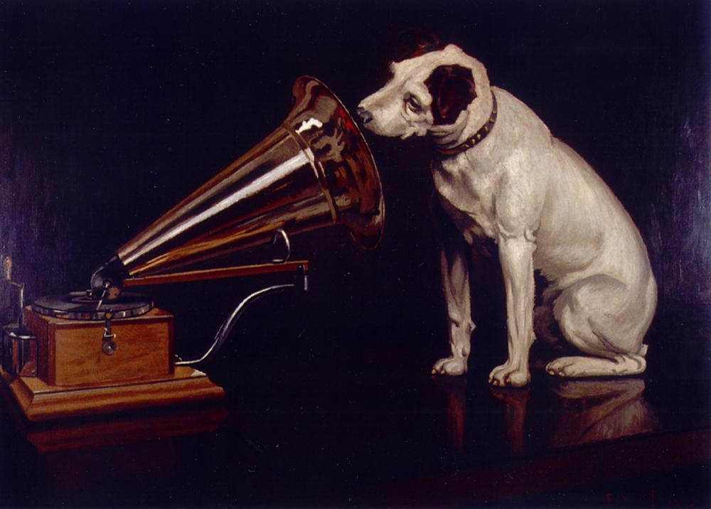"""A painting by Francis Barraud titled """"His Master's Voice"""", with a dog leaning into a gramophone."""