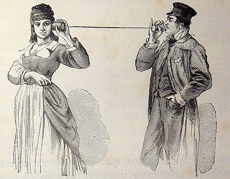 Drawing of two people talking through a cup-and-string system.