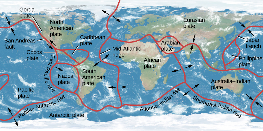 Openstax astronomy top hat marketplace this map shows the major plates into which the crust of earth is divided arrows indicate the motion of the plates at average speeds of 4 to 5 centimeters gumiabroncs Images