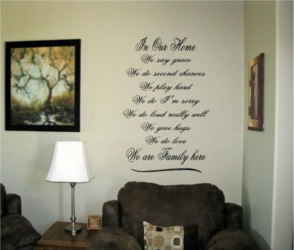 Vinyl Wall Art Words Decals Custom Stickers Love Family In Our Home We Say Grace Ebay