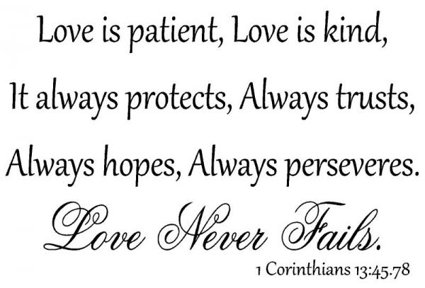 Love Is Patient Kind Protects Corinthians 13:45.78 Vinyl