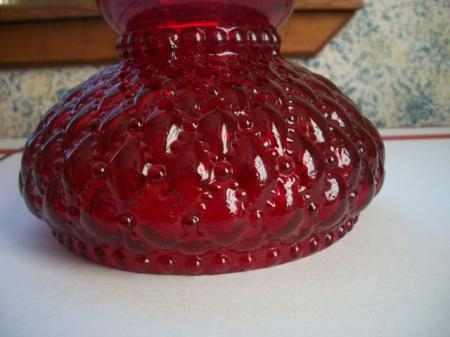 Ruby Red Glass Oil Lamp Globe Diamond Quilted Pattern Ruffled Top