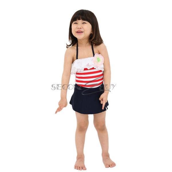 Girl Stripe Swimsuit Kid 3pc Swimwear Swimming Costume Bather Tutu Skirt Sz 6 9