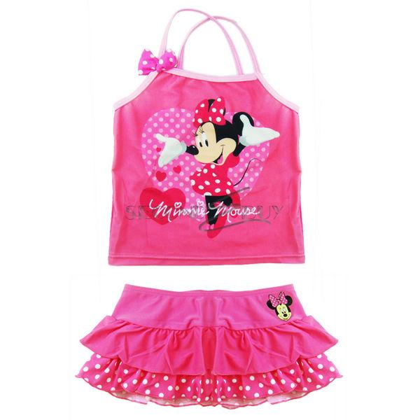 Girls Minnie Mouse Polka Dots Swimwear Swimming Costume Kids Bathing Suit Sz 4 8