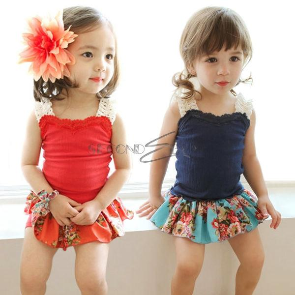 Girl Toddler Straps Tank Summer Top Floral Flower Dress Kid Skirt ...