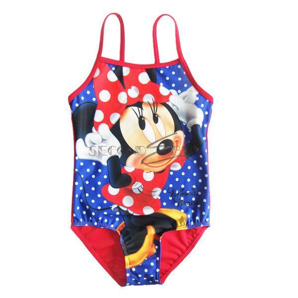 Girls Minnie Mouse Polka Dots Kids Bathing Suit Swimsuit Swimwear 1 Piece Sz 5 6