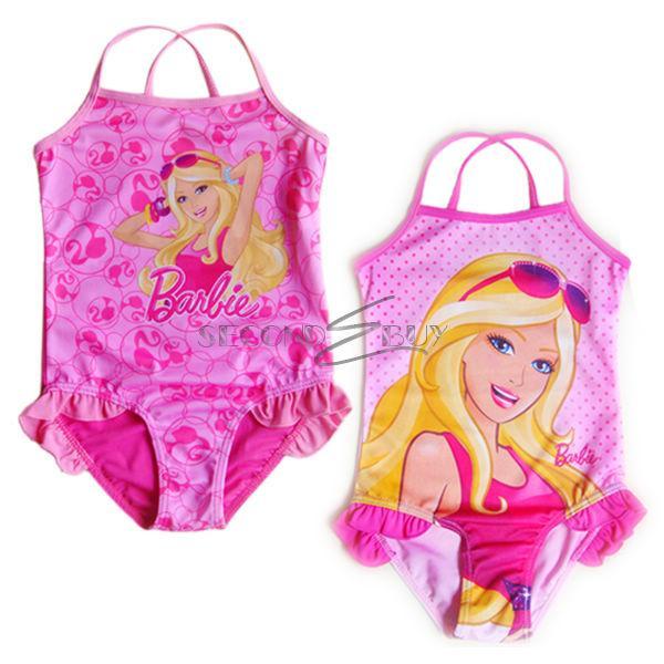 Girls Barbie Princess Swimwear Swimming Costume Kid Bathing Suit Swimsuit Sz 2 7