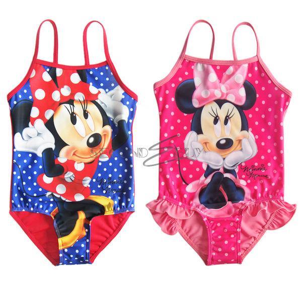 Girls Minnie Mouse Polka Dots Kids Bathing Suit Swimsuit Swimwear 1 Piece Sz 2 8