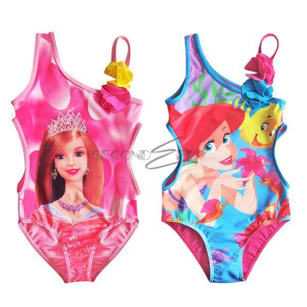 Girl Princess Mermaid Barbie Monokini Swimsuit Swimwear Bathing Beachwear Sz 2 8