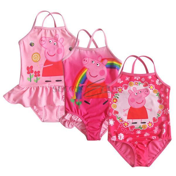 Girl Flower Rainbow Peppa Pig Swimsuit Swimwear Bathing Suit Swim Costume Sz 2 6