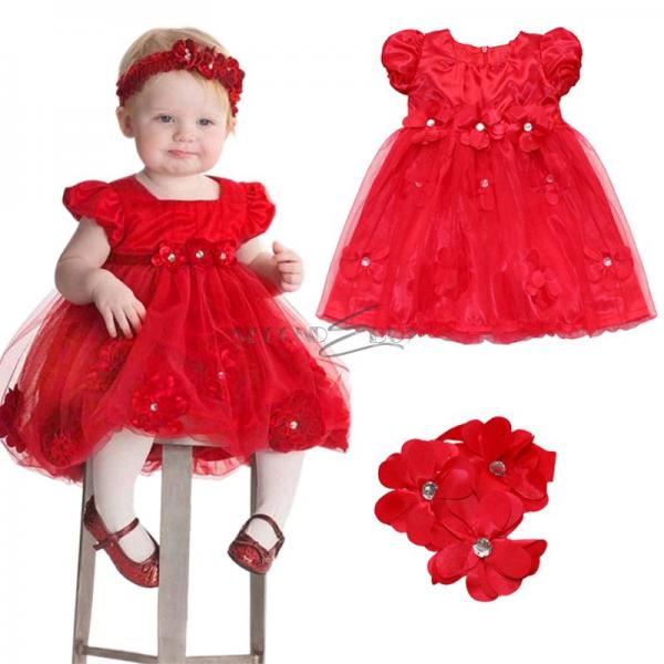 2pc newborn baby girls red petals party dress flower headband outfit