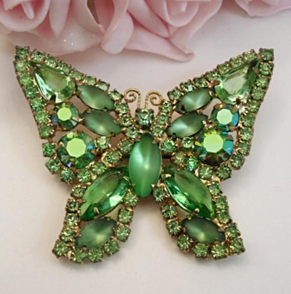 Green Costume Jewellery: Vintage WEISS Butterfly Costume Jewelry Green Rhinestone