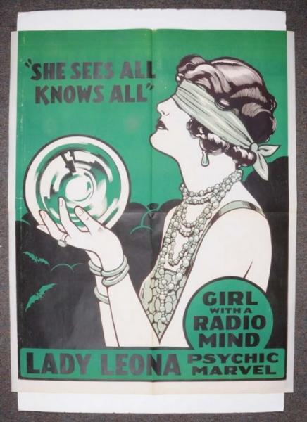 HUGE 1930s LADY LEONA PSYCHIC MARVEL Poster Antique