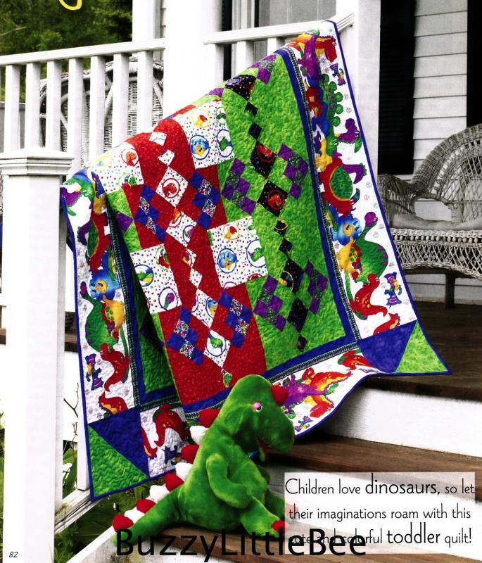 Quilt Pattern Playful Dinosaurs Toddler Bed Using Dinosaur
