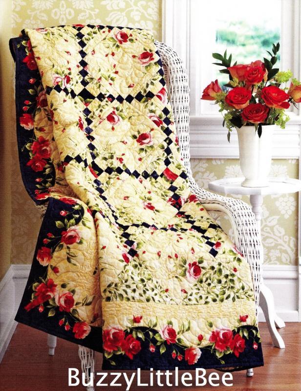 Quilt pattern climbing rose irish chain blocks floral for Garden trellis designs quilt patterns