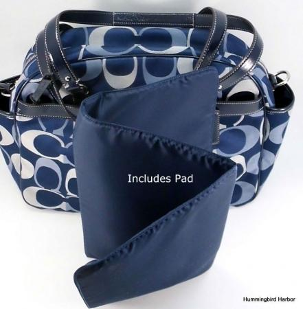 ... Coach 18376 Addison Signature Baby Diaper Bag Tote Purse Navy Blue