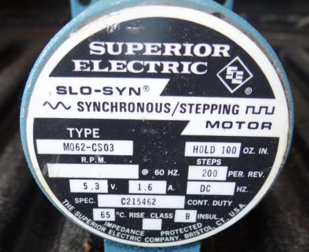 Superior Electric Slo Syn Synchronous Stepping Motor M062