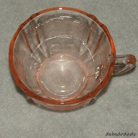 Collectible pink depression glass madrid pattern cup and for Most valuable depression glass patterns