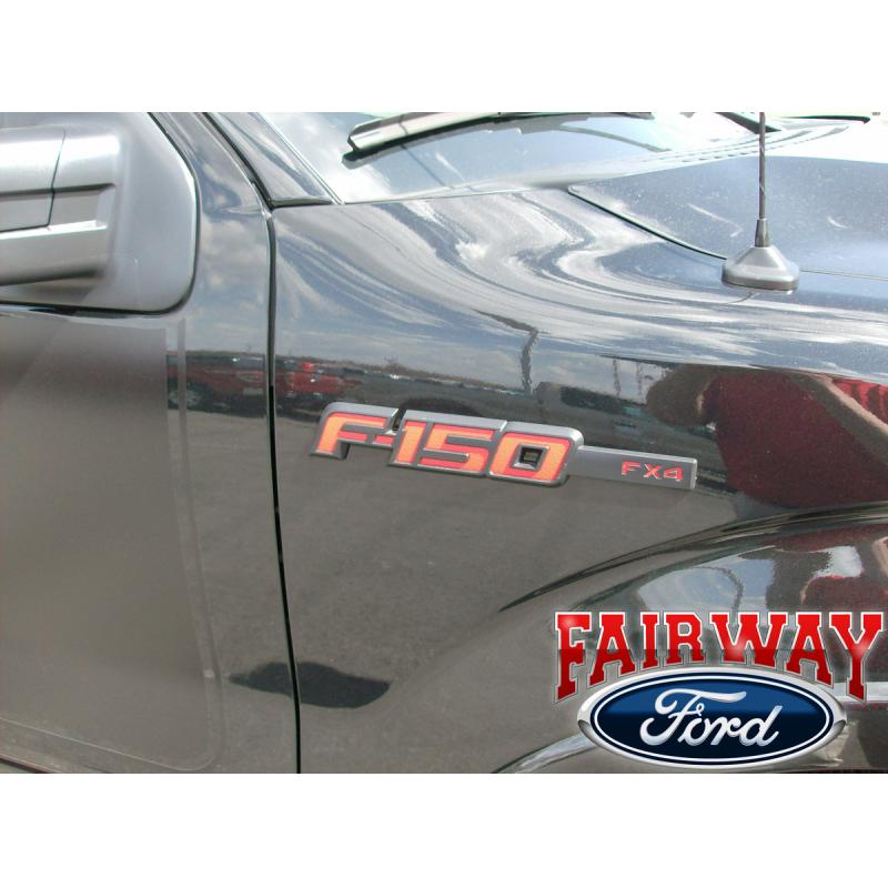 2009 thru 2014 F 150 Genuine Ford Parts Red FX4 Fender T Gate Emblem Set