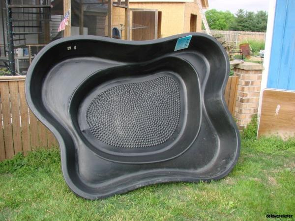Large hard black pre formed rigid plastic fish pond pool liner 2 levels Preformed plastic pond