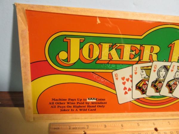 Joker Poker Slot Machine Belly Glass Sign 15 1 4 X 6 Ebay
