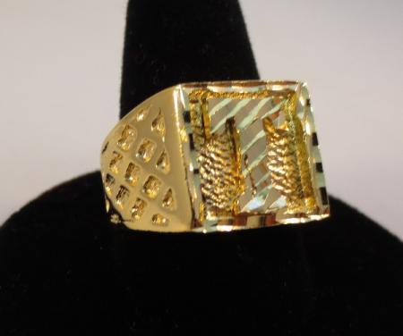 Mens 14kt Gold Ep Bling Letter T Initial Hip Hop Ring