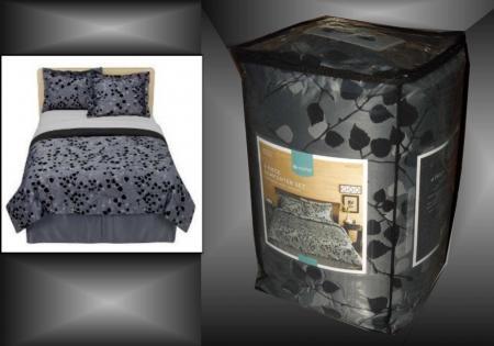 modern home flocked leaf comforter set black charcoal