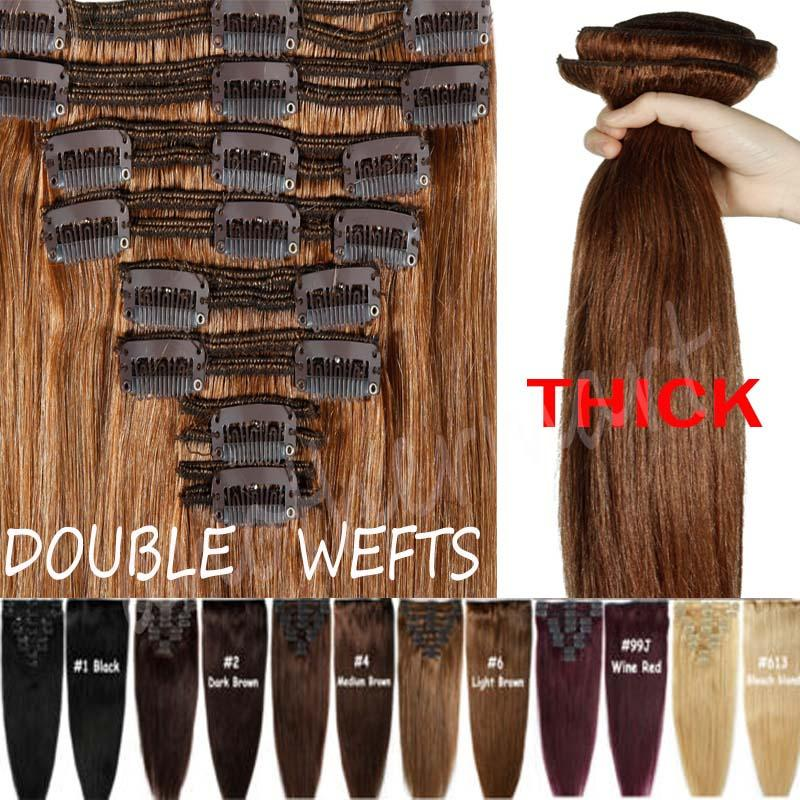 Thick Clip In Remy Human Hair Extensions Remy Indian Hair