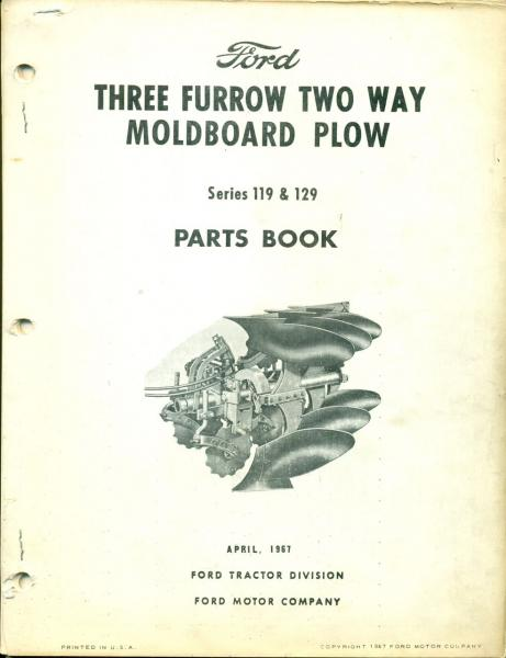 Moldboard Plow Parts : Ford parts book furrow way moldboard plow pa b