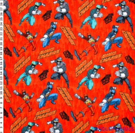 Power rangers dino charge on red fleece fabric bty free for Spaceship fleece fabric