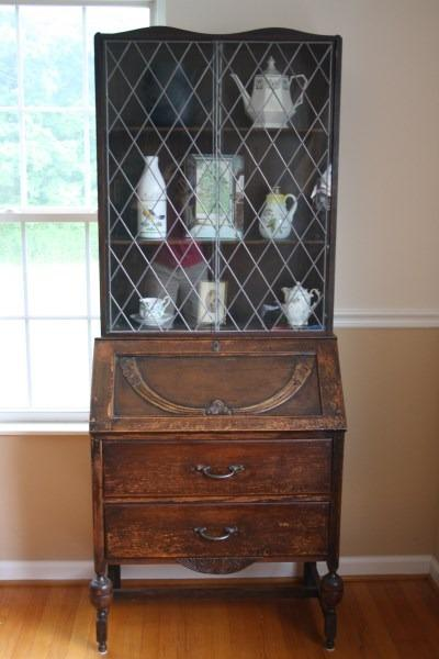Antique Art Deco Secretary Drop Front Desk Leaded Glass ...