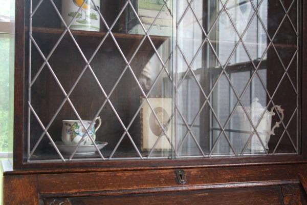 Antique Art Deco Secretary Drop Front Desk Leaded Glass