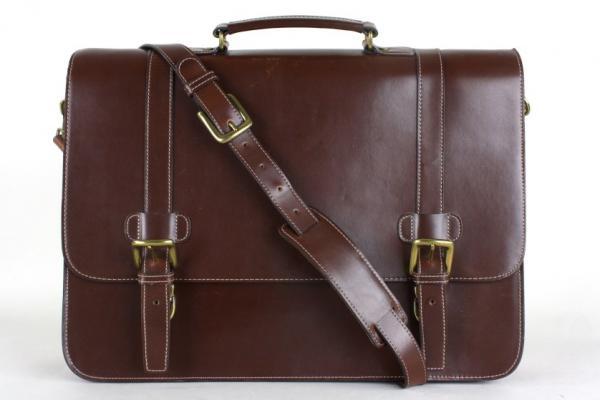 Wilsons Leather Pelle Studio Brown Messenger Briefcase