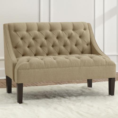 Skyline Tufted Linen Swoop Settee Loveseat Sandstone Usa Made Ebay