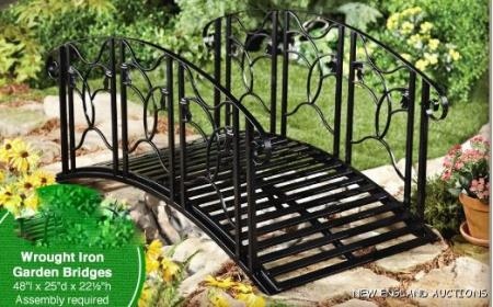 4 39 wrought iron bridge arched decorative garden yard pond for Decorative fish pond bridge