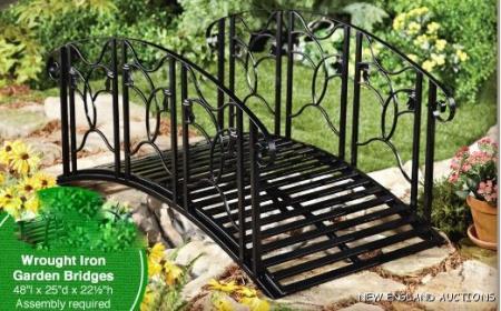 4 39 wrought iron bridge arched decorative garden yard pond for Decorative fish pond bridge
