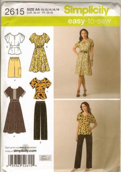 Simplicity 2615 Pattern Misses PULLOVER DRESS TOP PANTS SHORTS Sz 10