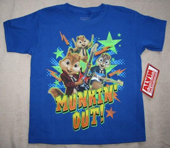 alvin and the chipmunks munkin out blue t shirt sz
