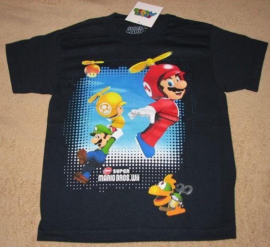 Nintendo Super Mario Bros Wii Game Navy T Shirt Sz 12 14