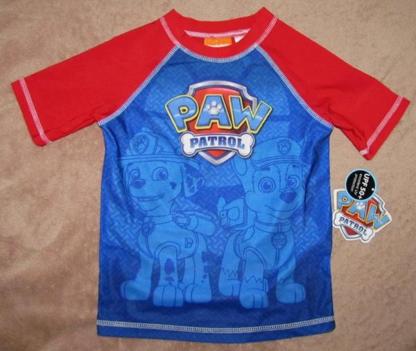 Paw patrol characters red blue swim rash guard shirt for Baby rash guard shirt