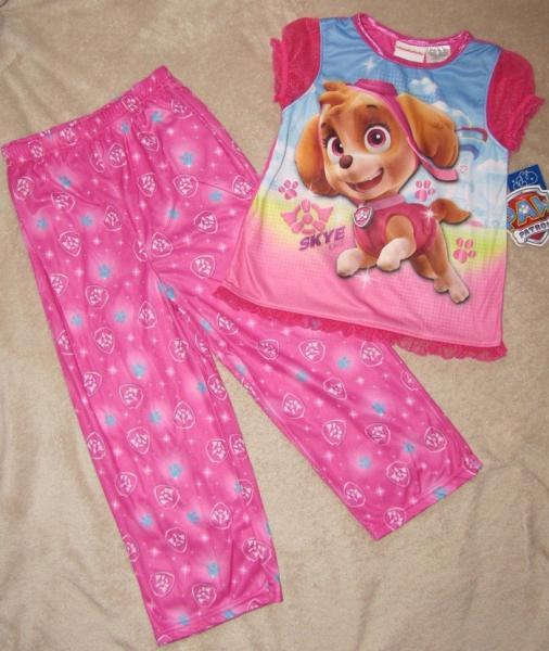 PAW PATROL *Skye* Pnk Girls S/S Shirt Poly Pajamas Pjs Toddler sz ...