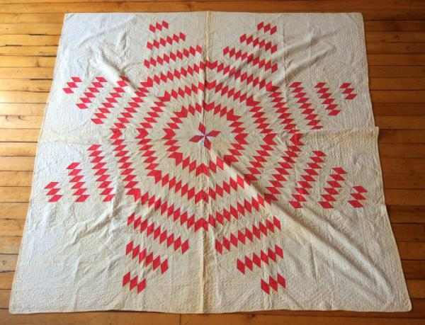 Details about Antique 19th c red Diamond Star pattern hand stitched quilt