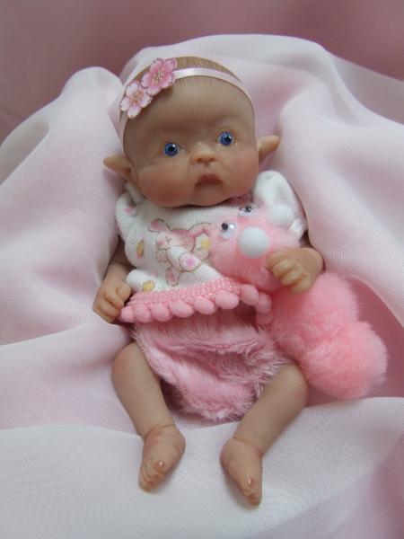 Ooak Sculpted Baby Girl Leprechaun Elf Fairy Polymer Clay