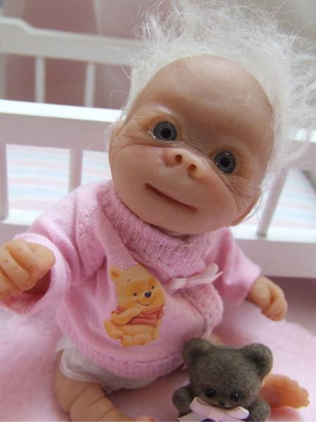 Ooak Baby Albino Gorilla Monkey Sculpted Polymer Clay Art